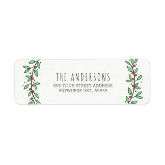 Simple Joy Wreath Pastels Modern Christmas Return Address Label