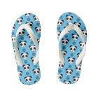 Simple Kawaii Panda Mandala Pattern Kid's Flip Flops