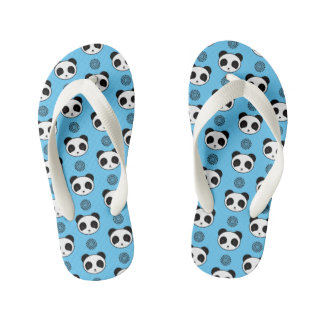 Simple Kawaii Panda Mandala Pattern Kid's Flip Flops