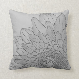 Simple Large Grey Graphic Sunflower   Throw Pillow