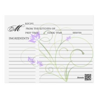 Simple Lavender Swirly Swirl Recipe Cards Postcard