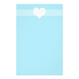Simple light Blue Heart Stationary Stationery Design