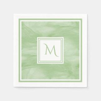 Simple Light Green Subtle Marble Modern Monogram Disposable Napkins