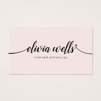 Simple Light Pink Handwritten Script Calligraphy Business Card