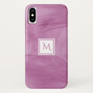 Simple Light Purple Subtle Marble Modern Monogram iPhone X Case