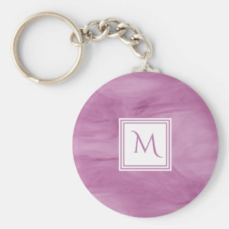 Simple Light Purple Subtle Marble Modern Monogram Keychain