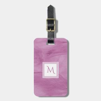 Simple Light Purple Subtle Marble Modern Monogram Luggage Tag