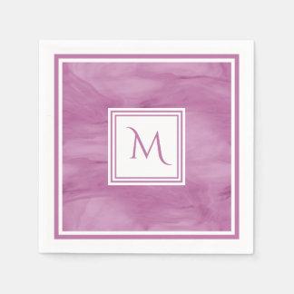 Simple Light Purple Subtle Marble Modern Monogram Paper Napkin