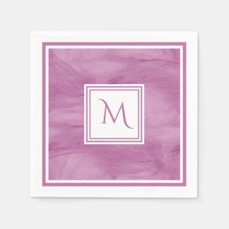 Simple Light Purple Subtle Marble Modern Monogram Paper Napkins