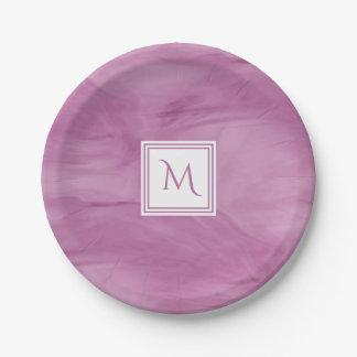 Simple Light Purple Subtle Marble Modern Monogram Paper Plate