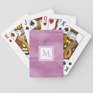 Simple Light Purple Subtle Marble Modern Monogram Playing Cards