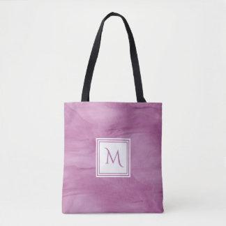 Simple Light Purple Subtle Marble Modern Monogram Tote Bag