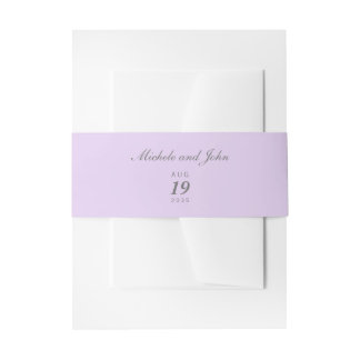 Simple Lilac Wedding Belly Bands Invitation Belly Band