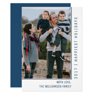 Simple Line Holiday Photo Card | Blue