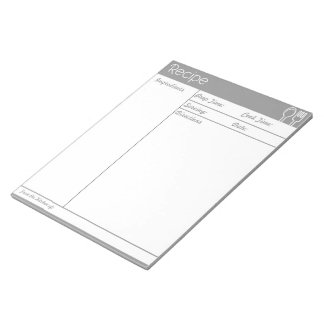 Simple Line-less Grey  Recipe Page Notepad