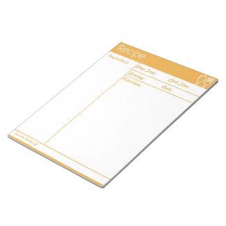 Simple Line-less Orange Recipe Page Notepad