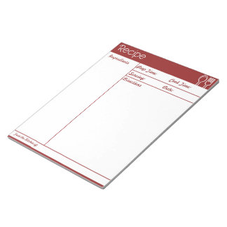 Simple Line-less Red Recipe Page Notepad