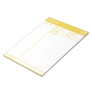 Simple Line-less Yellow  Recipe Page Notepad