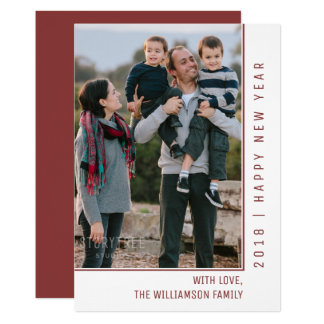 Simple Line New Year's Photo Card | Burgundy