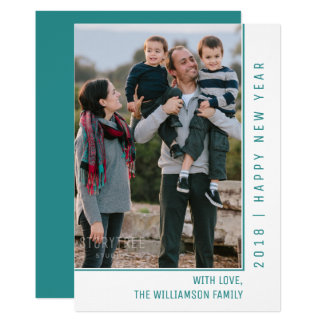 Simple Line New Year's Photo Card | Teal