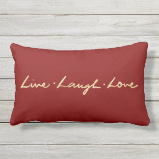 Simple Live laugh Love Gold Hand Lettered Outdoor Pillow