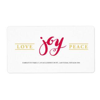 Simple Love Joy Peace label Shipping Label