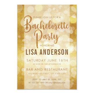 Simple Luxe Faux Gold Glitter Bachelorette Party Card