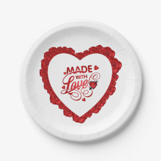 Simple Made With Love Quote Valentine Paper Plate