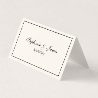Simple Medium Black Frame Escort Cards Ivory