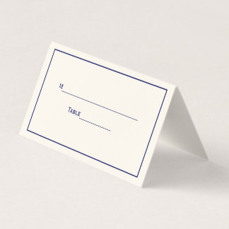 Simple Medium Navy Blue Frame Escort Cards Ivory