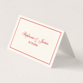 Simple Medium Red Frame Escort Cards Ivory
