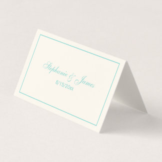 Simple Medium Turquoise Frame Escort Cards Ivory