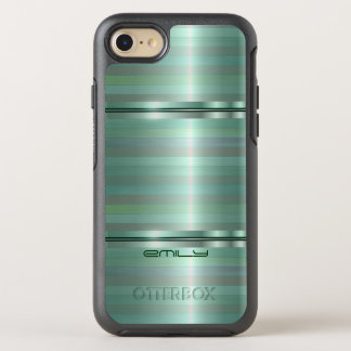 Simple Metallic Green Stripes OtterBox Symmetry iPhone 8/7 Case