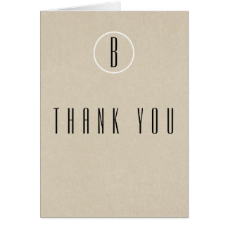 Simple Minimal Kraft Rustic Monogram Thank You Card