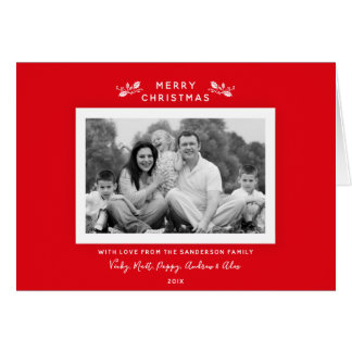 Simple Minimal Modern Red Holiday Photo Card
