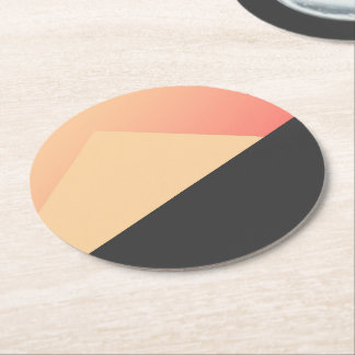Simple Minimal Peach, Coral, & Black Geometric Round Paper Coaster