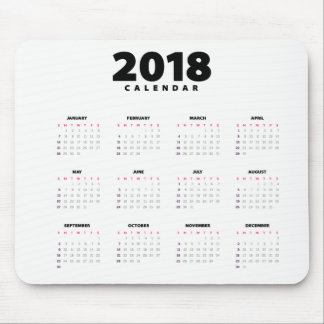 Simple Minimalist 2018 Calendar | Mousepad