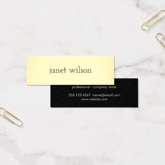 simple minimalist chic yellow texture mini business card