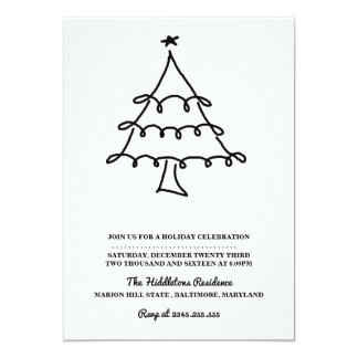 "Simple Minimalist Christmas Tree Holiday Party 5"" X 7"" Invitation Card"