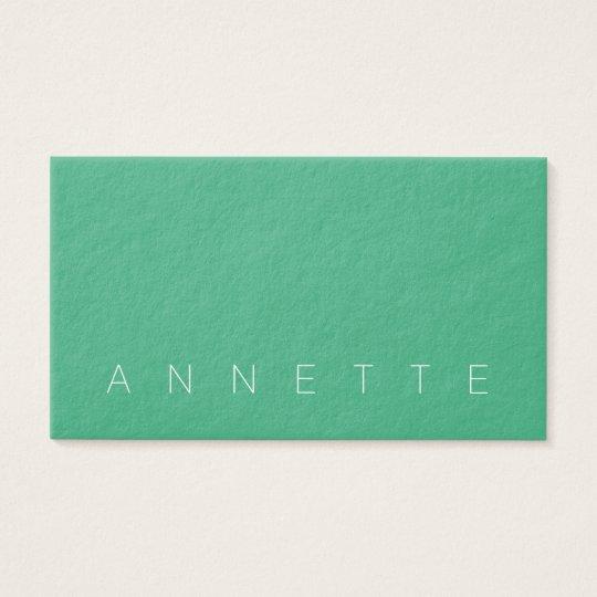 Simple minimalist elegance green stone faux look business card