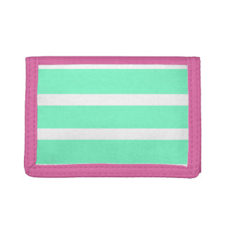 Simple Mint and Pink Stripe Wallet