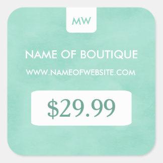 Simple Mint Chic Boutique Monogram Price Tags Square Sticker