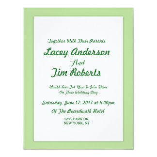 Simple  Mint Green Monogram Wedding Invitation