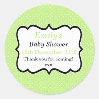 Simple mint green unisex modern baby shower labels round sticker