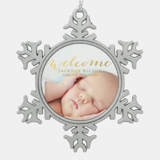 Simple Modern Baby Birth Photo Announcement Pewter Snowflake Ornament