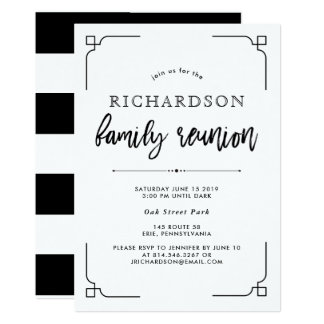 Simple Modern Black and White Family Reunion Card
