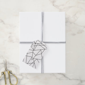 Simple Modern Black and White Geometric Pattern Gift Tags