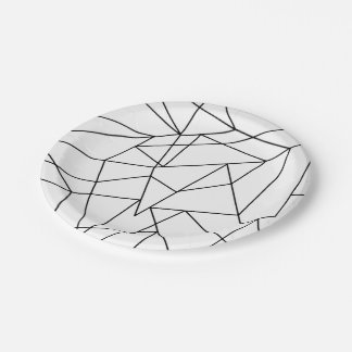 Simple Modern Black and White Geometric Pattern Paper Plate