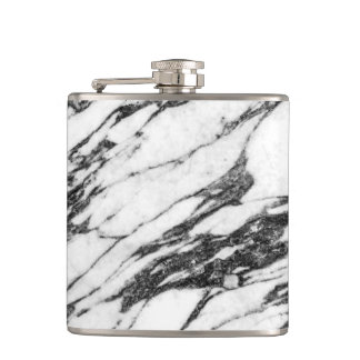Simple Modern Black and White Marble Stone Hip Flask
