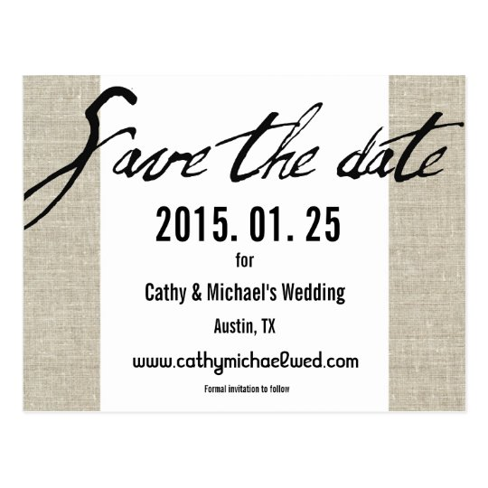 Simple Modern Black and White Save The Date Postcard